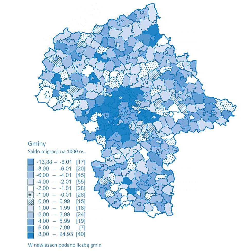 Mapa migracji wewnętrznych i zagranicznych na pobyt stały w województwie mazowieckim
